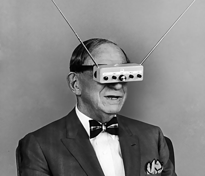 Television eyeglasses in 1963. james vaughn
